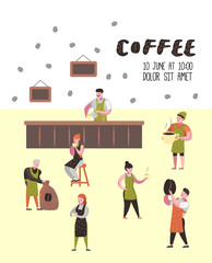 Barista Man and Woman Flat Characters in Coffee Shop. Cartoon Cafe Staff with Cup, Mug and Coffee Beans for Poster, Banner. Vector illustration