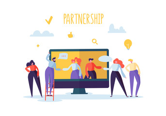 Business Partnership Online Meeting Concept. Flat People Characters Handshake. Coworking Creative Team Work. Vector illustration