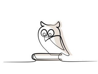 Continuous one line drawing. School wise Owl sitting on book. Vector illustration