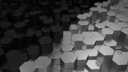 Abstract hexagonal geometric background. Structure of lots metal hexagons. Shiny honeycomb pattern. Creative geometric elements. Digital concept of oil and silver. 3d rendering
