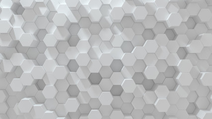 Hexagonal geometric background. Abstract structure of lots of different height hexagons. Creative honeycomb surface. Top view. Cell elements pattern. 3d rendering