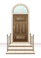 Vector illustration of brown wood door house west luxurious style