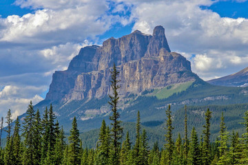Castle Mountain, blue sky with clouds in Banff, Alberta, Canada