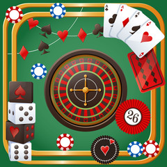 Vector illustration of casino party theme on green background