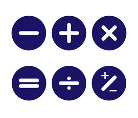 Icons of the main arithmetic signs on the round buttons are blue
