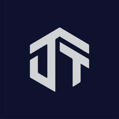 D T Initial letter hexagonal logo vector