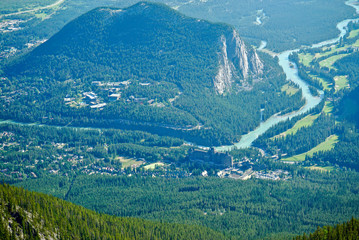 Mountain top view above Bow River in Banff, Alberta, Canada