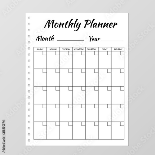 Monthly Planner Template Blank White Notebook Page Isolated On Grey