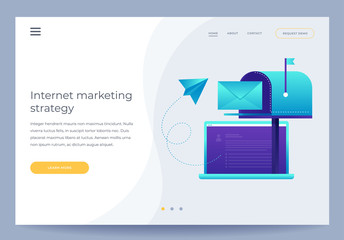 Design template for Landing Page. Communication concept, information dissemination, sending email. Open laptop, mailbox, paper airplane and envelope on blue background. Vector illustration.