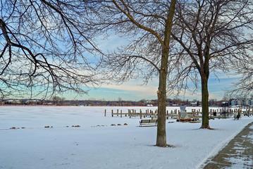 Scenic winter along the shores of Lake Minnetonka in Excelsior, Minnesota