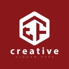 E F Initial letter hexagonal logo vector