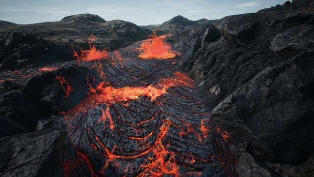 Lava flowing from volcano lava eruption. 3D Rendering.