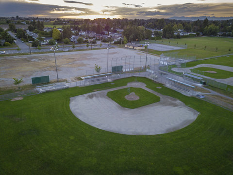 A Baseball Diamond From Above at Sunset