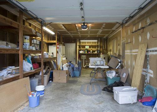 Messy garage interior in need of organization