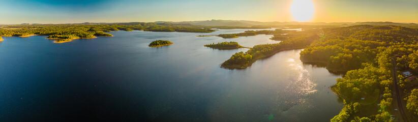 Printed kitchen splashbacks Lake Aerial panoramic image of Sansonvale lake, Brisbane, Australia