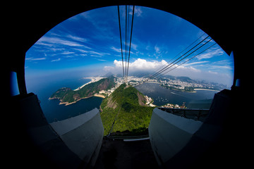 Rio de Janeiro seen from the high vantage point of Sugarloaf mountain looking out the cable car that takes you up and down Wall mural