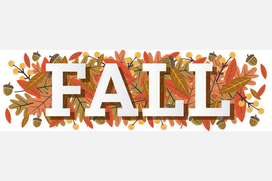 Fall Single Word with Leaves Vector Illustration 1