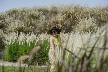 healthy beautiful girl and pampas grass 5