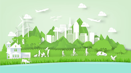 Illustration vector of modern eco world environment and happiness family people, graphic design of ecology modern world in paper art style