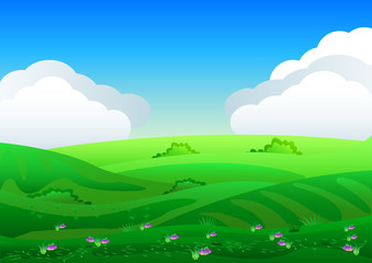 Wall Murals Pool Beautiful fields landscape with a dawn, green hills, bright color blue sky, background in flat cartoon style.