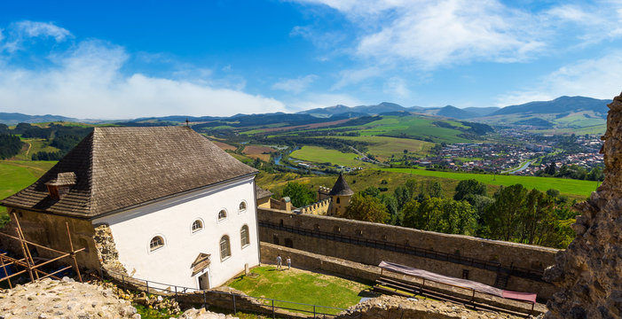 Stara Lubovna, Slovakia - AUG 28, 2016: view in to the valley from the castle wall. lovely countryside landscape with river and mountains