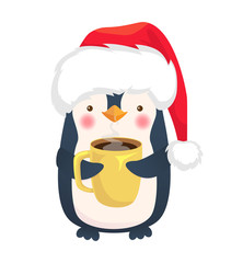 penguin holding a cup of coffee