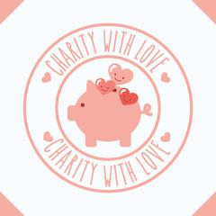piggy bank hearts cartoon charity with love vector illustration