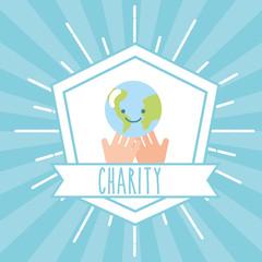 hands with kawaii world retro emblem charity vector illustration