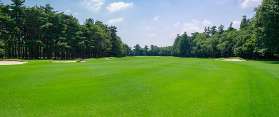 Panorama view of Golf Course where the turf is beautiful and green in Chiba Prefecture, Japan. Golf course with a rich green turf beautiful scenery.