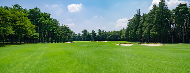 Panorama view of Golf Course with fairway field in Chiba Prefecture, Japan. Golf course with a rich green turf beautiful scenery. Wall mural