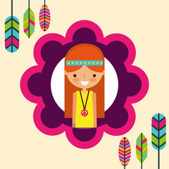 hippie woman feathers bohemian free spirit vector illustration