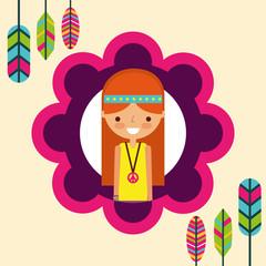 hippie woman feathers bohemian free spirit vector illustration