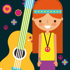 hippie woman with guitar musical instrument retro vector illustration