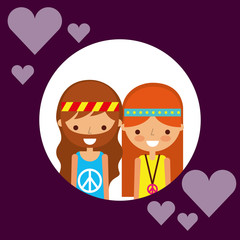 couple hippie man and woman character love hearts vector illustration