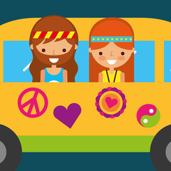 hippie woman and man in van vintage free spirit vector illustration