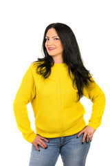 Casual woman in yellow sweater