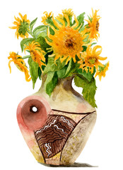 watercolor picture of a sunflower in a vase
