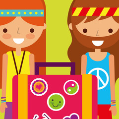 hippie woman with suitcase classic free spirit vector illustration