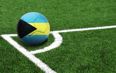 soccer ball on a green field, flag of Bahamas