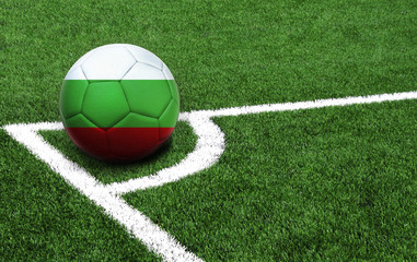 soccer ball on a green field, flag of Bulgaria
