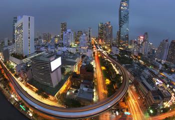 Long exposure with Bangkok metropolitan background, The rush hour of Bangkok city life background