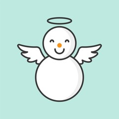 snowman with angel ring and wings, filled outline icon for Christmas theme