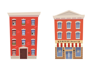 Set apartments house with coffee house on isolated white background. Vector illustration