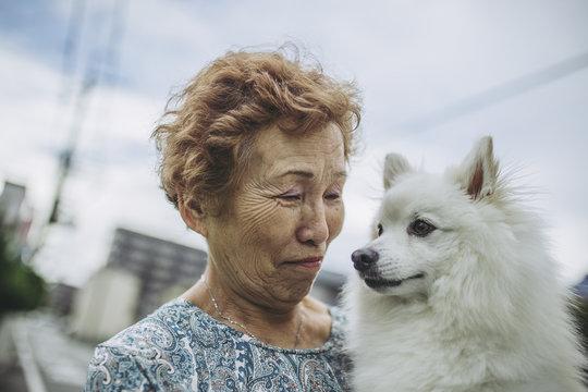 日本スピッツとシニア女性