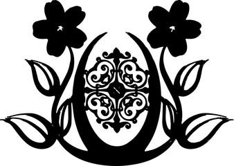 花のブローチのシルエット