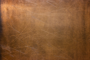 Worn sheet copper, metal texture close-up, background Wall mural