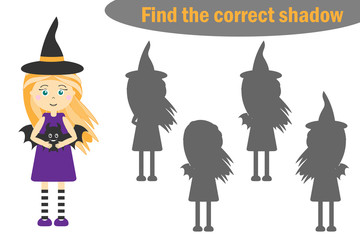 Find the correct shadow, halloween game for children, cartoon witch, education game for kids, preschool worksheet activity, task for the development of logical thinking, vector illustration