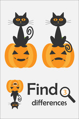 Find 3 differences, halloween game for children, cartoon cat and pumpkin, education game for kids, preschool worksheet activity, task for the development of logical thinking, vector illustration