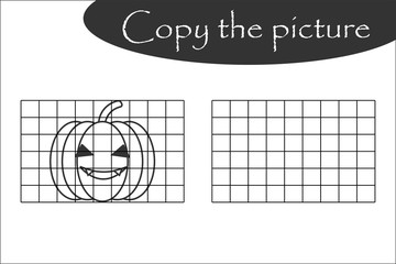 Copy the picture, halloween black white pumpkin, drawing skills training, educational paper game for the development of children, kids preschool activity, printable worksheet, vector illustration