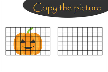 Copy the picture, halloween pumpkin cartoon style, drawing skills training, educational paper game for the development of children, kids preschool activity, printable worksheet, vector illustration